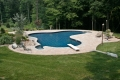 Laguna freeform pool with diving board and buddy seat